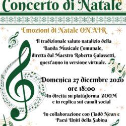 Selci – 27 Dicembre – Emozioni di Natale On Air - Il tradizionale saluto natalizio della Banda Musicale Comune, diretta dal Maestro Roberto Galassetti